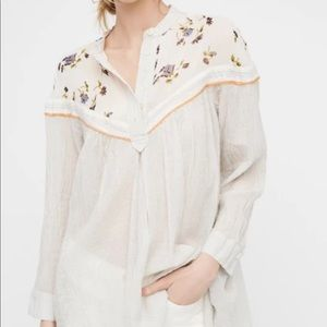 FREE PEOPLE Neutral HEARTS & COLORS Floral Flowy Retro Blouse Top- Small